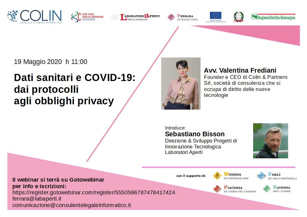 19 MAGGIO – Dati sanitari e COVID-19: dai protocolli agli obblighi privacy