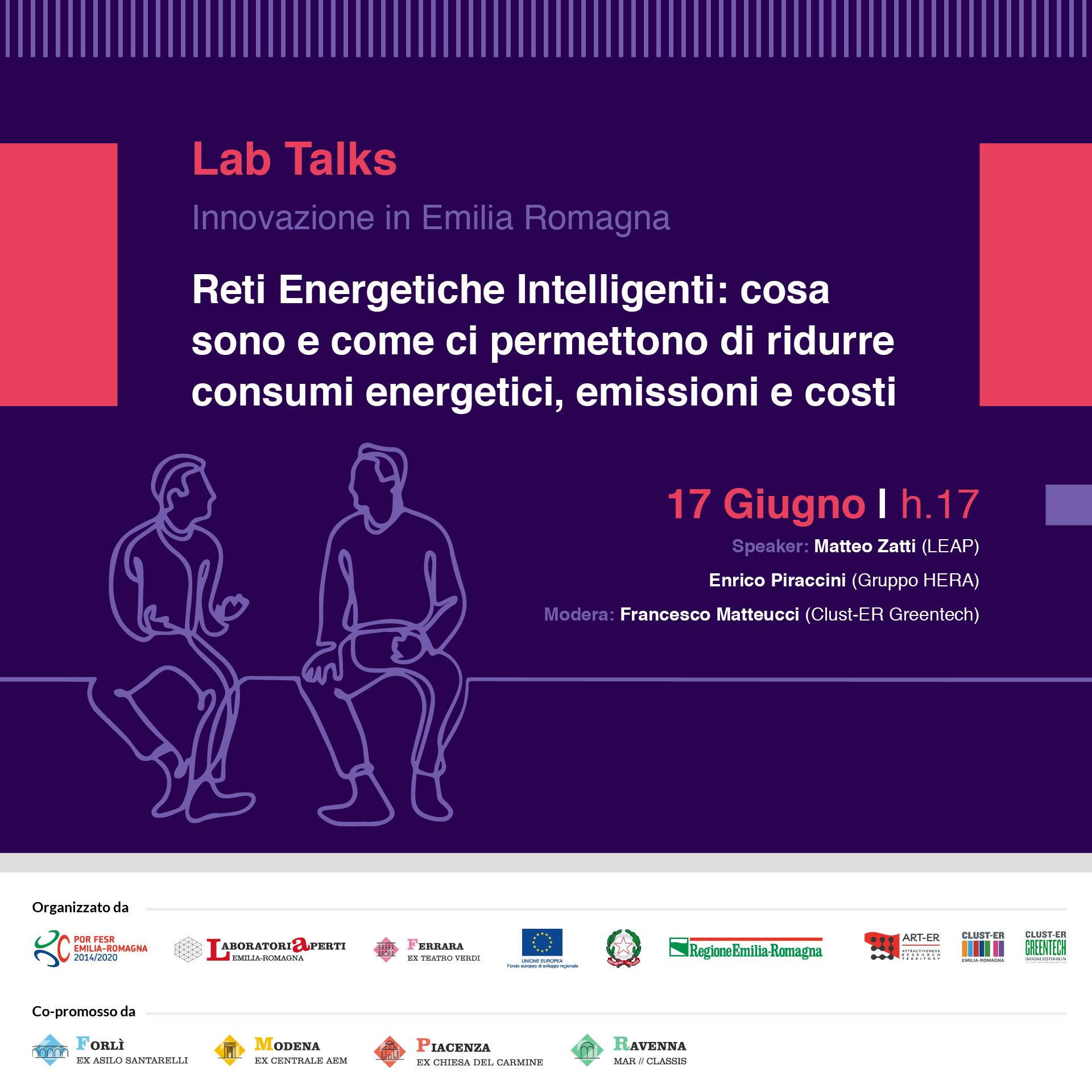 """17 GIUGNO – Reti Energetiche Intelligenti – LAB TALKS """"INNOVAZIONE IN EMILIA-ROMAGNA"""""""